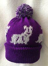 More details for skye terrierl dog design on new purple knitted pom pom bobble hat