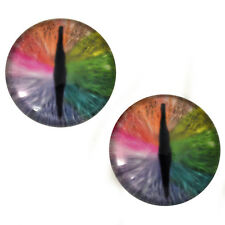 Pair of 30mm Rainbow Dragon Glass Eyes for Jewelry or Doll Making