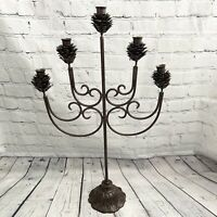 "Vtg Large Cast Iron PineCone Candelabra Heavy 27"" 5 Arm Metal Bronze Rustic"