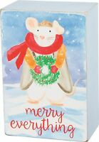 "MERRY EVERYTHING Christmas Mouse Wood Sign, 3"" x 4.5"" Primitives by Kathy"