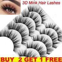 ,5Pair 3D Mink False Eyelashes Wispy Cross Long Thick Soft Fake Eye Lashes