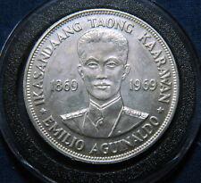 1969 Philippines Emilio Aguinaldo Birth Centennial Piso Silver aUNC/UNC