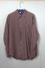 Tommy Hilfiger Mens Shirt Red White Check Long Sleeve Shirt LG