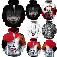 Men Women Hoodies 3D Clown Sweater Sweatshirt Jacket Coat Pullover  Graphic Tops