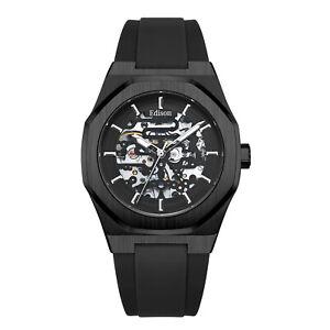 Men's Automatic Edison Roadster Hexagon Watch Black Rubber Strap Glass Back