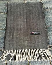 100% Cashmere Scarf  Dark GREY Herringbone Tweed  Made in Scotland Warm NEW