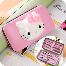 Cute 7pcs Pink Hello Kitty Nail Clippers Set Stainless Manicure Set Kit Gift