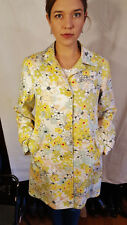 Bern & Mort Cotton White Yellow Red Floral Trench Knee Length Rain coat VGUC M