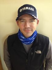 Keep warm in Yamaha Blue and White Neck Scarf with Yamaha Logo, Soft Material!