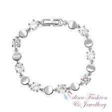 18K White Gold Plated Made With Swarovski Element Round Silver Tennis Bracelet