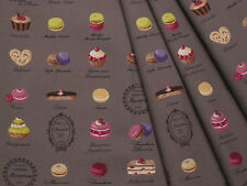 Yuwa Japanese Fabric / Cute Macaron Design Oxford Fabric Gray - 50cm x 110cm