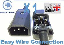 IEC C14 MALE Connector Easy Wire Professional Kaiser Rewireable Black 10a