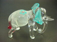 Glass ELEPHANT, White & Turquoise Painted Glass Animal Ornament, Glass Figure