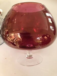 VINTAGE ITALIAN BALLOON GLASS HOT PINK LUSTRE FINISH - VERY LARGE