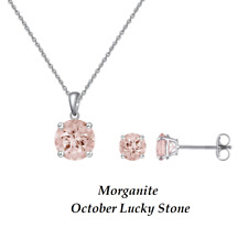 925 Sterling Silver 2Ct Solitaire Morganite Earrings Pendant Necklace Set UK