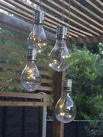6 Solar Powered WHITE LED Hanging Light Bulbs Solar Garden Lights