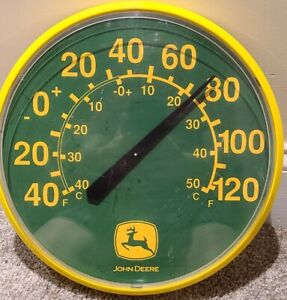 """Vintage JOHN DEERE Tractors Round Store Advertising 12 3/4"""" Wall Thermometer"""