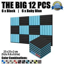 New Baby Blue and Black 12 pcs Pack Flat Wedge Acoustic Foam Panel 25*25*2cm