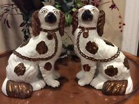 "19th Century Staffordshire Copper Luster LRG Pair 9"" King Charles Spaniel Dogs"