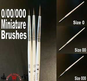 Extra Fine Detail 0/00/000 Artist Paint Brushes Miniature Modelling Brush Water
