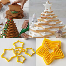 6 Pcs 3D DIY Heart Star Cookies Cake Cutter Mold Set Baking Tools Yellow Colors