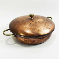 """Vintage 666 Bazar Francais Copper Lidded Pot 9"""" Diameter Sauté Sauce Pan"""