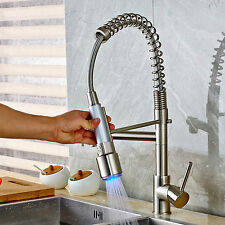Rotate Brushed Nickel LED Kitchen Sink Faucet with Pull down Sprayer Mixer Tap