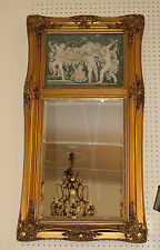 Gorgeous Putti Cherub Gilded Plaque Victorian French Vertical Mirror