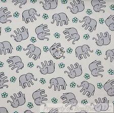 BonEful Fabric FQ Cotton Quilt White Gray Blue Small Elephant Baby Little Flower