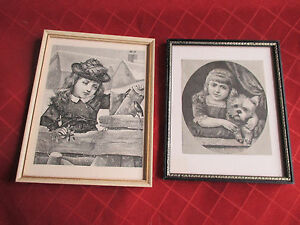2 victorian framed prints ,girl and terrier,girl in the snow