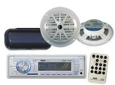 "Pyle PLMR18 New Marine Boat MP3 USB AUX AM FM Radio Pair 5.25"" Speakers + Cover"