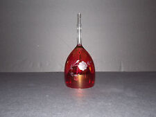 Etched Cranberry Crystal Bell With Smooth Handle