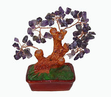 Chinese Feng Shui Bonsai Amethyst Quartz Purple Crystal Gem Stone Money Tree 5""