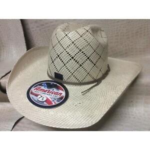 American Hat Co Tan Rodeo Western Cowboy Straw Hat 5050 Minnick Crown CHL Brim