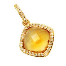 14K YELLOW GOLD PAVE DIAMOND CITRINE HALO DANGLE DANGLING PENDANT NECKLACE