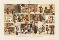 OLD ANTIQUE 1885 PRINT REHEARSING FOR THE PANTOMIME AT DRURY LANE THEATRE d11