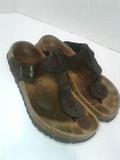 Betula Birkenstock Thong Sandals Women Sz 9 EU 39 Chocolate Brown Leather Shoe