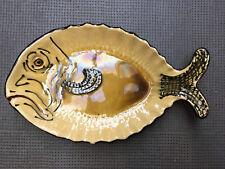 Grand Beau Plat Poisson VALLAURIS Céramique Barbotine 1950 Ancien Saint Pierre