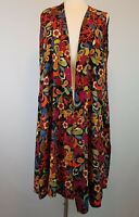 LuLaRoe Long Vest Duster Wrap Cover Up Kimono Floral Colorful Print Red Black M