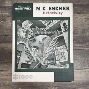 M C Escher Relativity Artpiece Jigsaw Puzzle 1000 Pieces By Pomegranate Complete