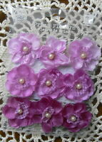 BRISTO Blooms VIOLET 9 Fabric Satin Lace Flowers with Pearl Centre 30mm PRIMA 16