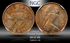 1970 BERMUDA 1 CENT ELIZABETH II NGC MS62RB ONLY 8 GRADED HIGHER TONED