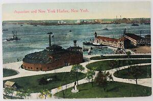 Vintage New York City NYC New York NY Aquarium and New York Harbor 1913