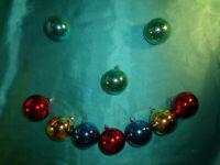 ~ 10 alte Christbaumkugeln Glas bunt rot grün blau gold Weihnachtskugeln 5 cm ~