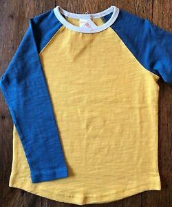 Gymboree Size 4 Tee Shirt Yellow Blue Long Sleeve Raglan Baseball Boys