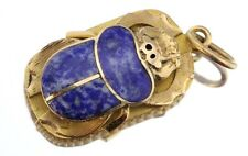 Vintage 22K Gold Egyptian Lapis Inlaid Scarab Beetle Pendant Signed