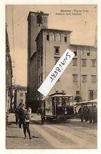 C003104  MANTOVA PIAZZA ERBE PALAZZO DELLA REGIONE TRAM MERCATO ANIMATA VG 1910
