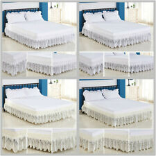 White Lace Ruffle Elastic Band Bed Skirt Twin/Full/Queen/King Size No Bed Sheet
