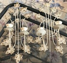 PAIR Vtg Antique Metal Toleware Ivory Gold Candle Wall Hanging Sconce