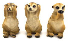 Meerkat Hear See Speak No Evil Statue Figurine Garden Sculpture *Set of 3*